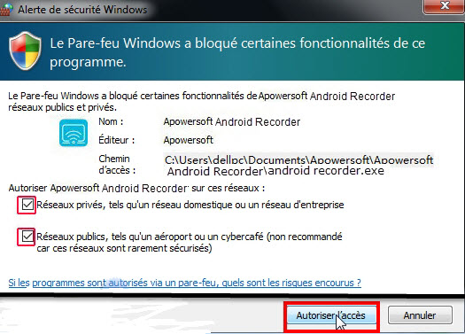 alerte de sécurité Windows