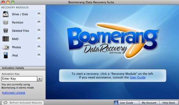 Boomerang Data Recovery Software pour Mac