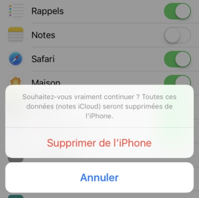supprimer de l'iphone