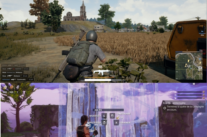 interface Fortnite vs PUBG