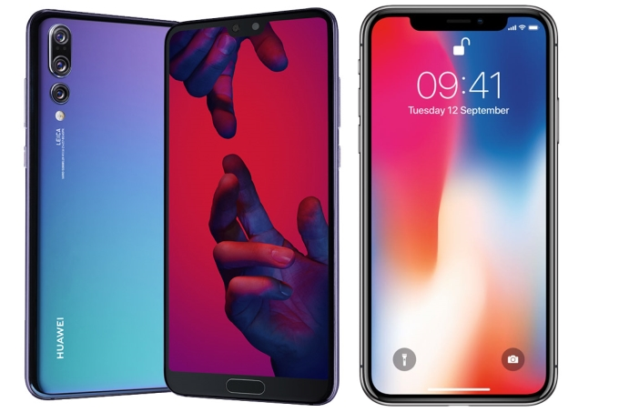 apparence Huawei P20 Pro et iPhone X