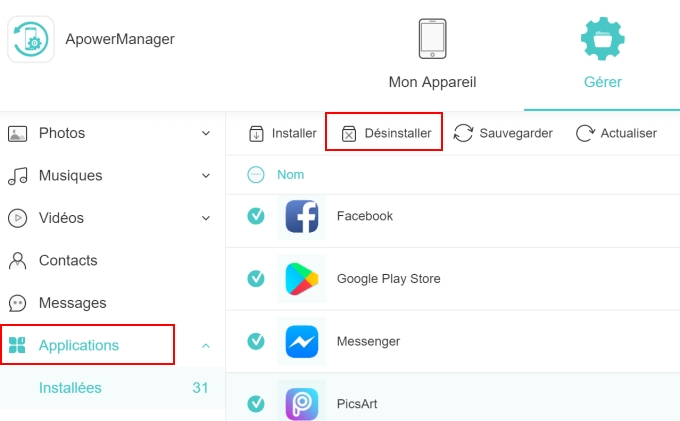 désinstaller les applications Android via ApowerManager
